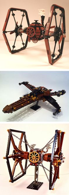 Steampunk LEGO X-Wing and TIE Fighters