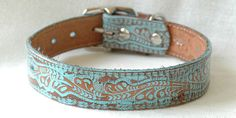 Western Leather Dog Collar with Turquoise Finish - Rustic and Gorgeous OOAK