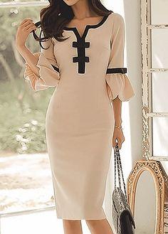 Bowknot Embellished Split Neck Flare Sleeve Dress USD31.88 #GifGooDs #style