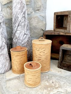 Trio of Russian Nesting Birch Bark Canisters or Baskets by ProvinceShop on Etsy