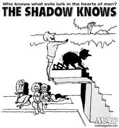 Hidden Truth #cartoon from MAD #131, December 1969      The Shadow Knows, Sergio Aragones, Diving, Summer, Swimming.