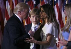 MSG: President-elect Donald Trump talks with his son Barron (C), his wife Melania (2nd R) and his daughter Ivanka (R) at his election night rally in Manhattan, New York, U.S., November 9, 2016. REUTERS/Jonathan Ernst via @AOL_Lifestyle Read more: https://www.aol.com/article/news/2017/01/24/white-house-statement-press-privacy-barron-trump/21662026/?a_dgi=aolshare_pinterest#fullscreen