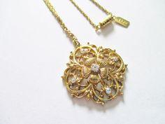 Vintage 1928 Designer Edwardian Style Pendant Necklace Gold Plated Rhinestones #1928 #PendantChainBarrelClaspDesignerVintage