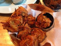 Vegetable Pakoras at Curry Leaf Cafe @ Temple Bar, Brighton. Full writeup at http://scoff.at/curry-leaf-cafe-temple-bar-review/