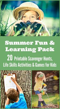 20 Awesome printable scavenger hunts, travel games and learning activities that are perfect for with kids! Life Skills Activities, Kids Learning Activities, Summer Activities For Kids, Fun Learning, Group Activities, Nature Activities, English Activities, Camping Activities, Creative Activities