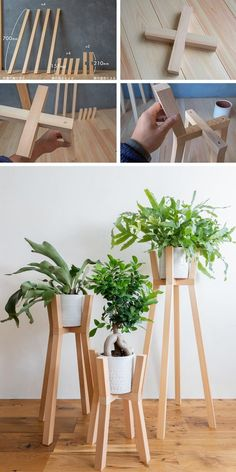 Diy Wooden Projects, Wooden Diy, Furniture Projects, Diy Furniture, House Plants Decor, Plant Decor, Diy Crafts For Home Decor, Diy Plant Stand, Wooden Plant Stands