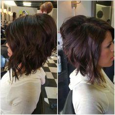 warm mahogany brown hair with cute  angled bob