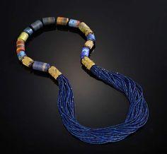 Vicki Eisenfeld Blue Bead Necklace, Woven Gold Beads, Agate, Lapis Lazuli