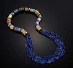 Vicki Eisenfeld      Blue Bead Necklace,    Woven Gold Beads, Agate, Lapis Lazuli