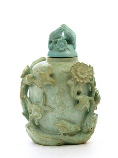 Old Chinese Turquoise Carved Snuff Bottle with Bird & Flower