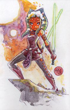 Watercolor: Ahsoka Tano by mikemaihack.deviantart.com on @DeviantArt