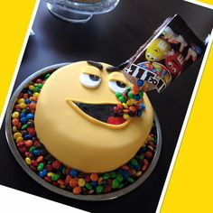 M&M cake defying Gravity  #yellow