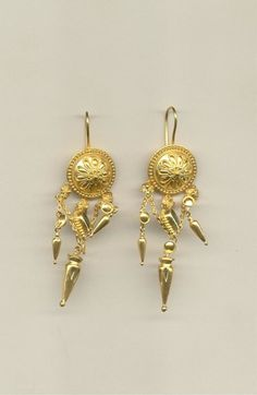 gold disks with amphorae – Fakaros jewelry Byzantine Jewelry, Gold Earrings, Brooch, Gold Stud Earrings, Gold Pendants, Brooches