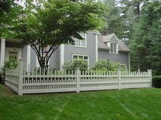 2012 Cedar Fence - fencing - other metro - West Hartford Fence Co. Picket Fence Gate, White Picket Fence, Cedar Fence, Front Yard Fence, Fenced In Yard, Front Porch, Home Fencing, Victorian House Interiors, Victorian Homes