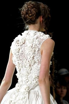Alexander McQueen lace and pleated gown.