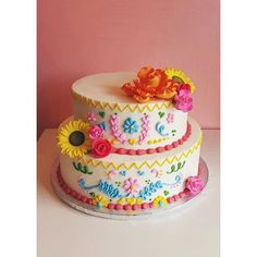 Hope this colorful Mexican dress inspired cake brightens your day! #2tartsbakery #fiestacake #happymonday