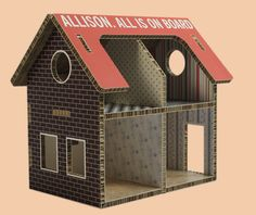 #Poppenhuis van #Karton. Alles kan van #Karton! Karton Design, Cardboard Dollhouse, Chipboard, Embroidery Patterns, Card Stock, Dollhouses, Wood, Outdoor Decor, Boutique