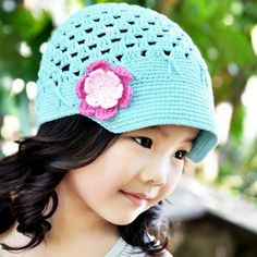 Turquoise Newsboy Crocheted Baby Hat for Baby Girl