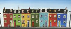 North East artist Joanne Wishart creates paintings, prints and greetings cards showcasing her colourful seaside pictures. Family Painting, House Painting, Fairy Garden Houses, Bird Houses, Seaside Pictures, Cathedral Window Quilts, Artist Workshop, Whimsical Fashion, Whimsical Art