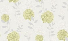 Maytime Pistachio (M0847) - Crown Wallpapers - An all over floral trailing wallpaper featuring Peony flowers on a textured background. Shown here in pistachio green and cream. Other colourways are available. Please request a sample for a true colour match.