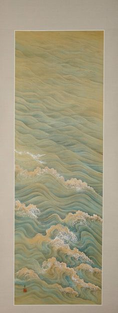 Painting of Waves by Takata Kiseki (1873-1946) circa 1900-1920 Painting on silk in mineral pigments, gofun or powdered clam shell, sumi ink mounted as a hanging scroll.