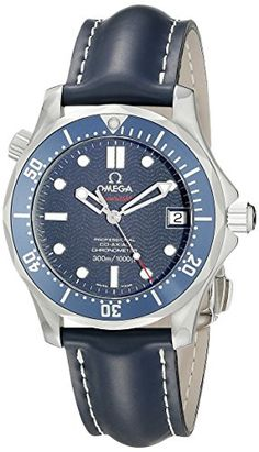 Omega Mens 29228091 Seamaster Stainless Steel Automatic SelfWind with Blue Leather Band -- For more information, visit image link.