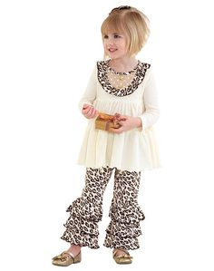 339dc8a7a9 FABULOUS Peaches n Cream Ivory Leopard GOLDEN HOLIDAY Leggings Set Girls (sz  2T-6X. Girls Christmas OutfitsHoliday ...