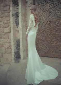via Bridal Trend Article: Long Sleeve Gowns / Wedding Style Inspiration / LANE  (For more inspiration: Instagram: the_lane Facebook: www.facebook.com/thelane Mailing List: www.thelane.com/newsletter )  #TheLANEweddings  #BulgariResortBaliEscape