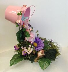 Baby Shower Centerpiece Floating Tea cup by BasketsFromAtoZ Flower Tea, Flower Pots, Hobbies And Crafts, Diy And Crafts, Tea Cup Art, Tea Cups, Cup And Saucer Crafts, Coffee Cup Crafts, Floating Tea Cup