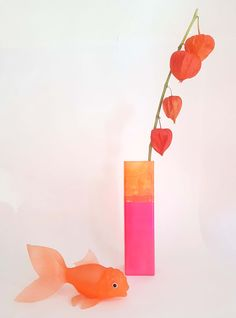 Pink and orange unique flower vase by kira-cph.com