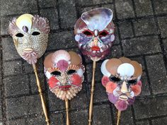 Commedia del Arte masks by Christas South Seashells
