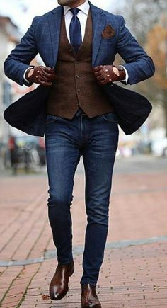 Luv the brown/blu combo #MensFashionWork
