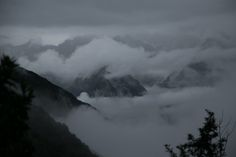 mountains in clouds - inka trail, peru