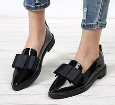 018c96fa8b97 Bowtie Loafers Patent Leather Elegant Low Heels Casual Black Shoes Fashion  Element  Butterfly-knot Toe Shape  Pointed Toe Casual Ladies Shoe For Girls  ...