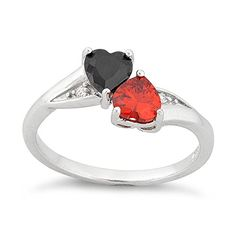 - Rhodium Plated Sterling Silver - Width: 8mm - Black & Red Cz - Comes In a Gift Box