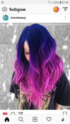 Great Combination of Blue To Pink Hair Color Highlights for 2018 Cute Hair Colors, Pretty Hair Color, Beautiful Hair Color, Hair Color Purple, Hair Dye Colors, Blue And Pink Hair, Vivid Hair Color, Vibrant Hair Colors, Colourful Hair