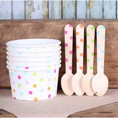 Rainbow Polka Dot Ice Cream Cups & Wooden Spoon Set, Rainbow Party Ice... ($14) ❤ liked on Polyvore featuring home, kitchen & dining, kitchen gadgets & tools, wooden ice cream spoons, icecream spoons, ice cream spoons, wooden spoons and wood spoon