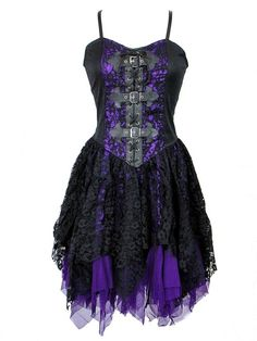 Black & Purple Lace Gothic Dress with Buckles ( Would like to see this in a Crimson or Emerald as well) Gothic Corset Dresses, Gothic Lolita Dress, Goth Dress, Gothic Outfits, Lace Dress Black, Purple Lace, Dress Lace, Purple Dress, Purple Cocktail Dress