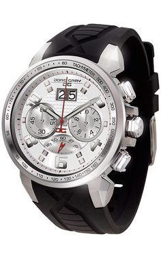 PRE-SALE Jorg Gray JG5600-24 Men's Watch Chronograph Silver Dial With Integrated Black Silicone Strap