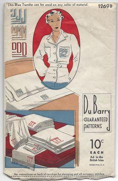 1930s Du Barry 1269B, Alphabet Transfer Pattern , Stem Letters, Embroidery Monogram, Incomplete Vintage Transfer Pattern by VintageCAlm on Etsy https://www.etsy.com/listing/247363577/1930s-du-barry-1269b-alphabet-transfer