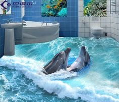 Dolphin 3D Bathroom Floor | 3d Floor Tiles Werbeaktion-Shop für Werbeaktion 3d Floor Tiles bei ...