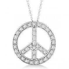 Allurez Diamond Peace Sign Pendant Necklace 14k White Gold (0.50ct)