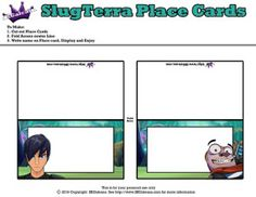 Eli and Pronto Place Cards ~ Free Slugterra Party Printables, and Crafts | SKGaleana