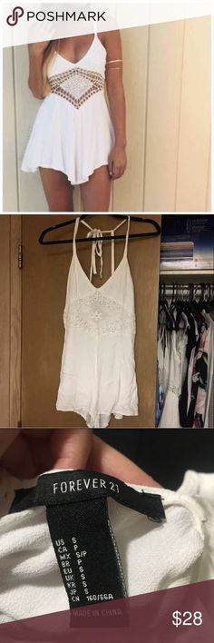 Forever 21 Diamond Crochet Romper size small from forever 21. Fit is exactly like the first photo except the diamond crochet part isn't cutout and sheer as seen in second photo Forever 21 Dresses Mini
