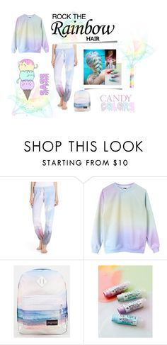 """Rainbow pastel!"" by death-kitty ❤ liked on Polyvore featuring Post-It, 35MM Clothing and JanSport"