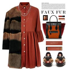 """Fall Faux Fur"" by cara-mia-mon-cher ❤ liked on Polyvore featuring Prada, Mela Loves London, Sloane Stationery, MAC Cosmetics and Mason Pearson"
