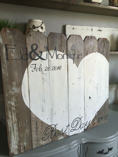 Guest book sign out of reclaimed wood