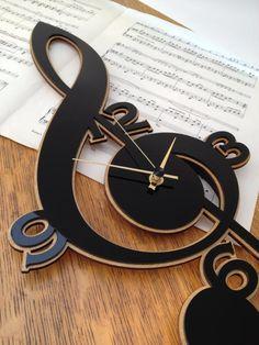 Clef Music Clock made with cnc technology. Made from plywood Handmade Wall Clocks, Unique Clocks, Cool Clocks, Music Clock, 3d Laser Printer, Wall Watch, Laser Cut Patterns, Diy Clock, Clock Wall