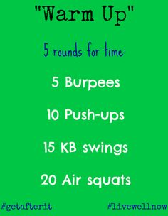 "CrossFit WOD ""Warm UP"" Burpees, Air squats, Kettlebell swings, Push-ups(Fitness Inspiration Crossfit) Crossfit Wods, Crossfit At Home, Gym Workouts, At Home Workouts, Beginner Workouts, Workout Exercises, Workout Ideas, Kettlebell Training, Kettlebell Cardio"