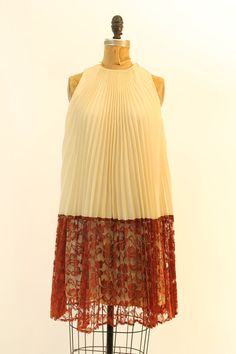 60s Lace Trapeze Dress XS / 1960s Pleated Mini by CrushVintage